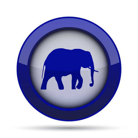 endanger: Elephant icon. Internet button on white background. Stock Photo