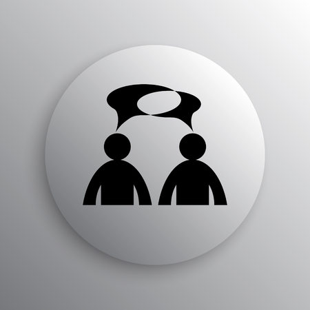 comments: Comments icon. Internet button on white background. - men with bubbles