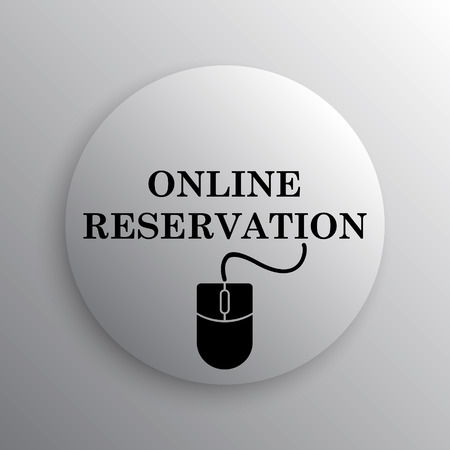 reservation: Online reservation icon. Internet button on white background.