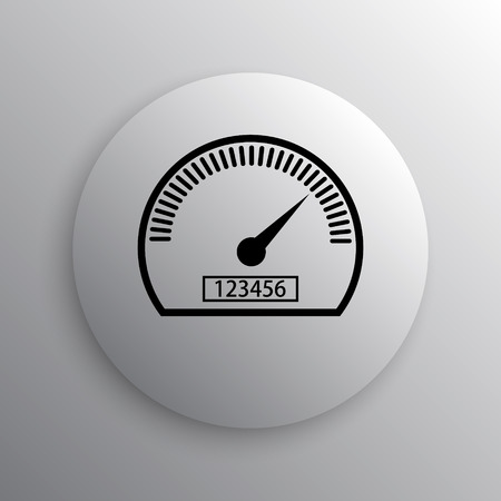 kilometer: Speedometer icon. Internet button on white background.