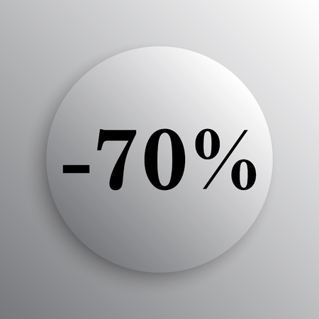 seventy: 70 percent discount icon. Internet button on white background.