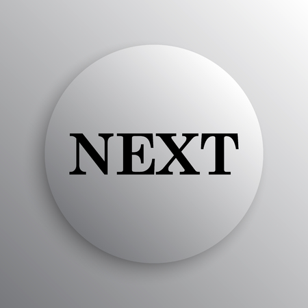 next icon: Next icon. Internet button on white background. Stock Photo