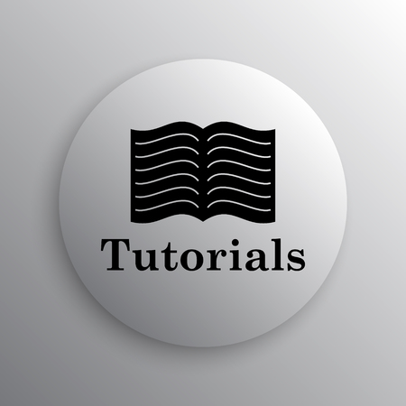 tutorials: Tutorials icon. Internet button on white background.