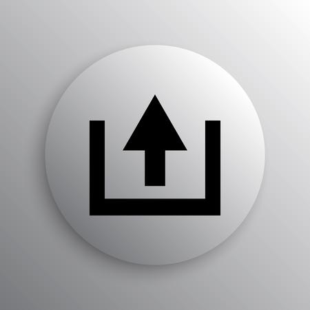 uploading: Upload icon. Internet button on white background. Stock Photo