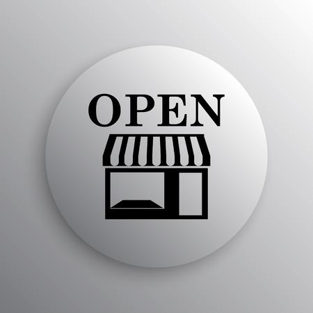 button front: Open store icon. Internet button on white background. Stock Photo