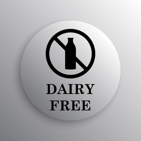 intolerance: Dairy free icon. Internet button on white background. Stock Photo