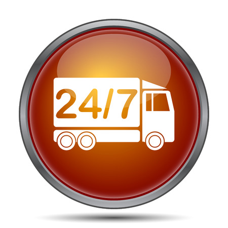 hrs: 24 7 delivery truck icon. Internet button on white background.