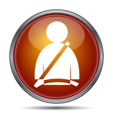 cinturon seguridad: icono de cinturón de seguridad. botón de internet sobre fondo blanco. Foto de archivo