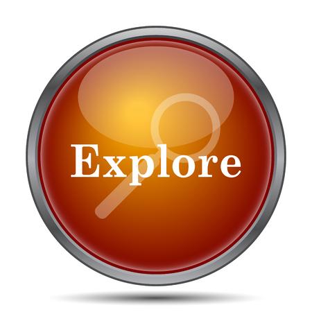scrutiny: Explore icon. Internet button on white background. Stock Photo