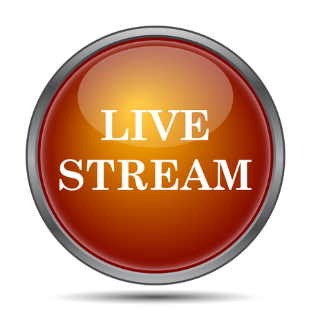 livestream: Live stream icon. Internet button on white background. Stock Photo