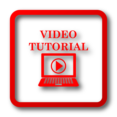 Video tutorial icon. Internet button on white background. Stock Photo