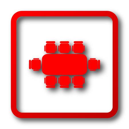 Réunion d'affaires table icône. bouton Internet sur fond blanc. Banque d'images