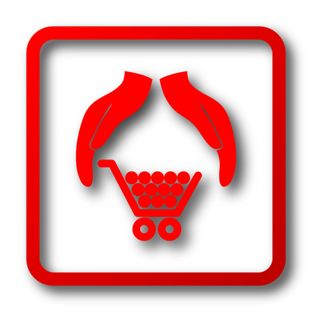 consumer protection: Consumer protection, protecting hands icon. Internet button on white background.