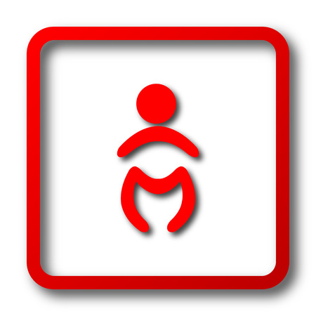 icon red: Baby icon. Internet button on white background.