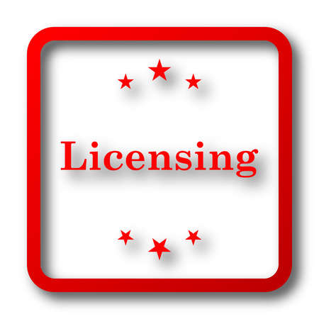 property rights: Licensing icon. Internet button on white background.