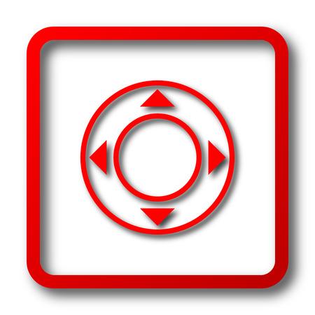 command button: Joystick icon. Internet button on white background. Stock Photo