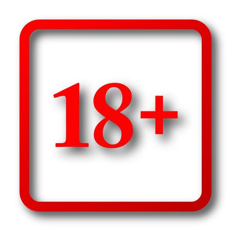 information age: 18 plus icon. Internet button on white background.
