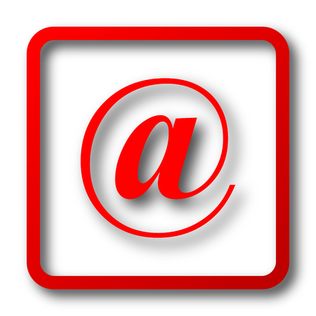 icon red: At icon. Internet button on white background. Stock Photo