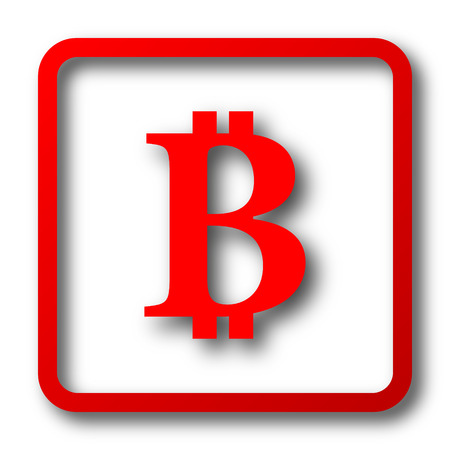 cryptography: Bitcoin icon. Internet button on white background.