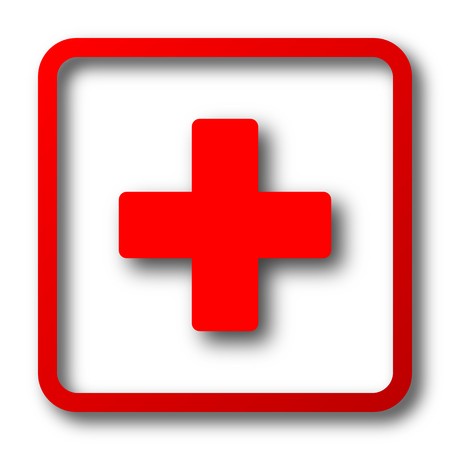 red sign: Medical cross icon. Internet button on white background. Stock Photo