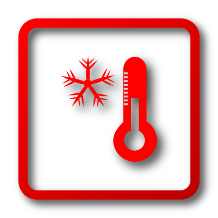snow drifts: Snowflake with thermometer icon. Internet button on white background.