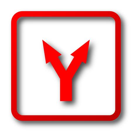 arrow icon: Split arrow icon. Internet button on white background. Stock Photo
