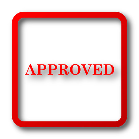 approved icon: Approved icon. Internet button on white background. Stock Photo