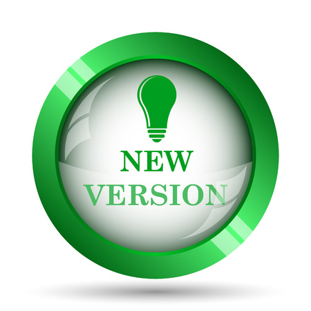 new and improved: New version icon. Internet button on white background. Stock Photo