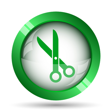 hair cutter: Cut icon. Internet button on white background.