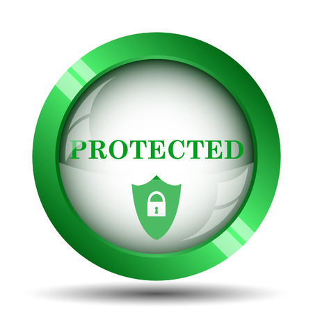 protected: Protected icon. Internet button on white background.