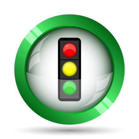 regulate: Traffic light icon. Internet button on white background. Stock Photo