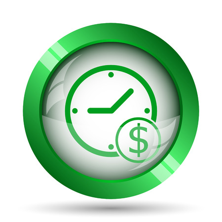 penny: Time is money icon. Internet button on white background.