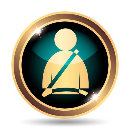 cinturon seguridad: Safety belt icon. Internet button on white background.