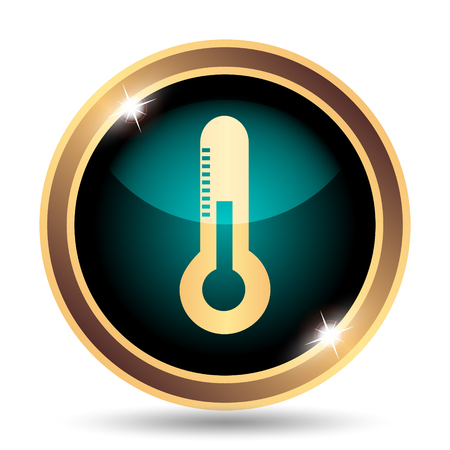 coldness: Thermometer icon. Internet button on white background.