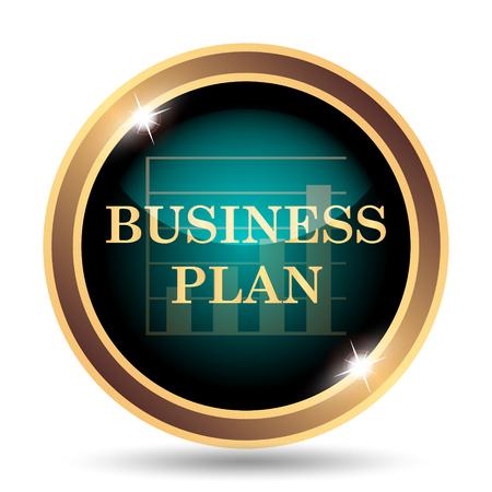 Businessplan icoon. Internet-knop op witte achtergrond.