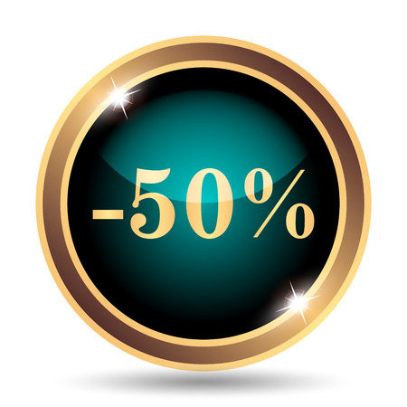 50: 50 percent discount icon. Internet button on white background.