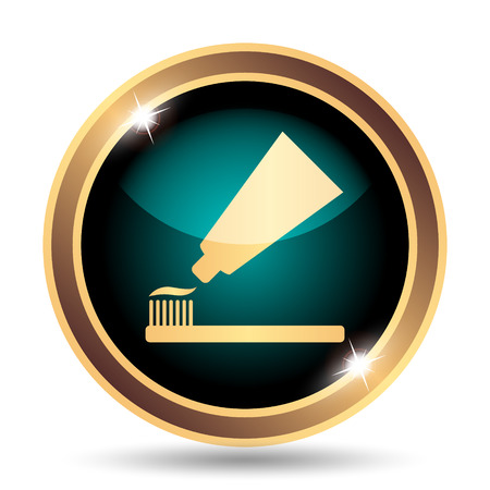 toothbrushing: Tooth paste and brush icon. Internet button on white background.