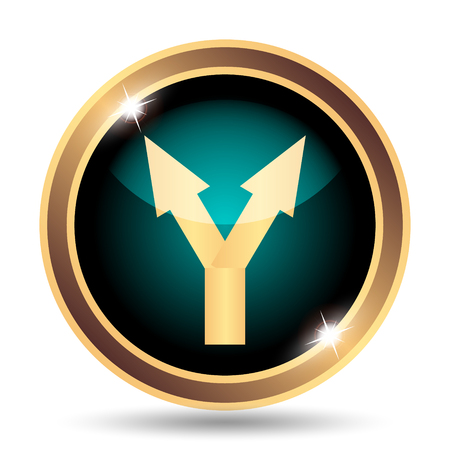 split road: Split arrow icon. Internet button on white background. Stock Photo