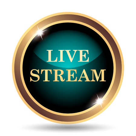 live stream button: Live stream icon. Internet button on white background. Stock Photo