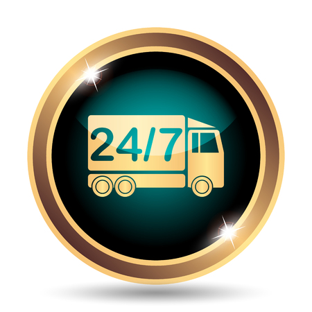 hrs: 247 delivery truck icon. Internet button on white background. Stock Photo