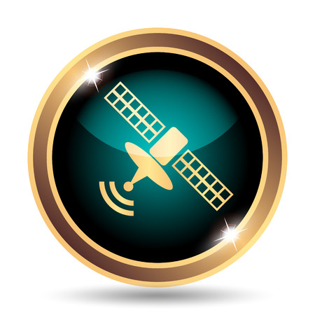 world receiver: Satellite icon. Internet button on white background. Stock Photo