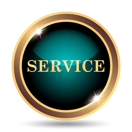 cyan business: Service icon. Internet button on white background. Stock Photo