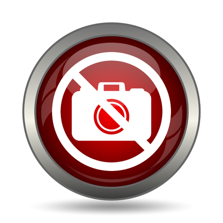 no cameras allowed: Forbidden camera icon. Internet button on white background.
