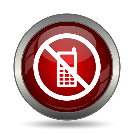 use regulation: Mobile phone restricted icon. Internet button on white background.