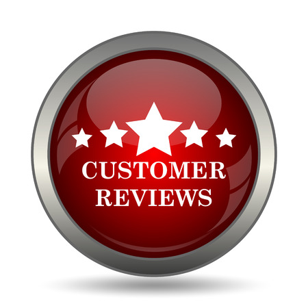 reviews: Customer reviews icon. Internet button on white background.