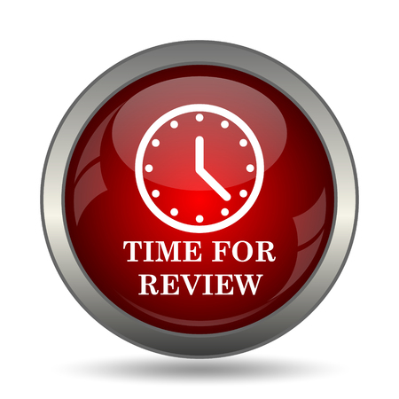 assess: Time for review icon. Internet button on white background. Stock Photo