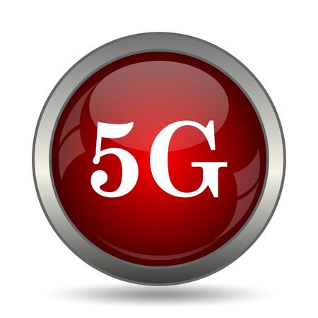 5g: 5G icon. Internet button on white background. Stock Photo