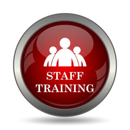 staff training: Staff training icon. Internet button on white background. Stock Photo