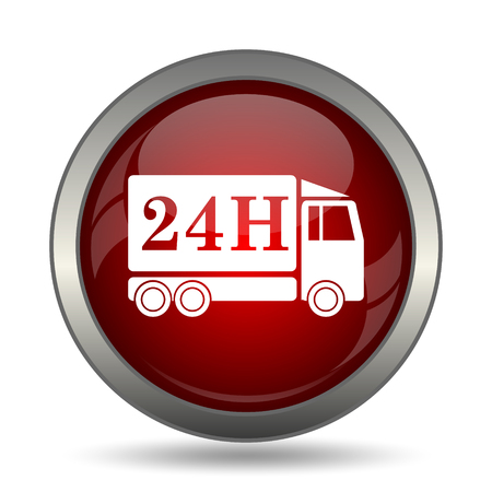24h: 24H delivery truck icon. Internet button on white background. Stock Photo