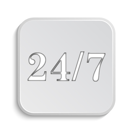 hrs: 24 7 icon. Internet button on white background.
